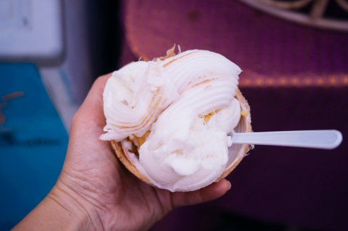 tastylicious coconut ice cream with coconut flesh